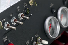Race Car Dashboard. Toggles and switches on a race car dashboard Stock Photography