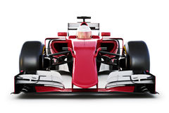 Race car and driver front view on a white isolated background. 3d rendering Royalty Free Stock Image