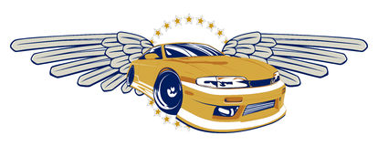 Race car emblem. In modern  style Stock Photo