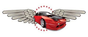 Race car emblem. Red race car emblem in vector Stock Image