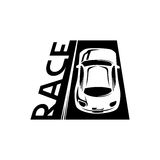 Race car emblem. Road and race car emblem Royalty Free Stock Image