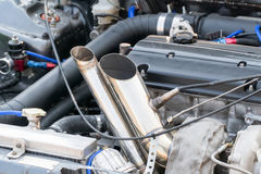 Race car exhaust pipes stock images