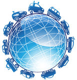 Race Car Globe Icon. Race cars traveling around a 3D Globe Royalty Free Stock Photo