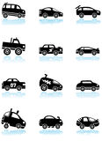Race Car Icons - black and white. Set of 12 different styles of race cars - black and white stock illustration