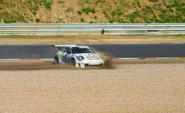 Race Car In Run-off Gravel Area Royalty Free Stock Images