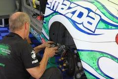 Race car mechanic Stock Photo