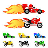 Race car and motorcycle  Different colors Stock Photos