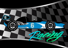 Race car poster on checkered flag with script Stock Images