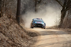Race car in a rally competition Royalty Free Stock Image
