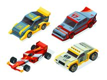 Race car set. 3D racing cars. Isometric sport pictures. Vector auto sport, automobile for race speed illustration vector illustration