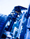 Race car shock absorber. And wheel Royalty Free Stock Photo