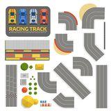 Race car sport track curve road vector. Top view of car sport competition constructor symbols. Circuit transportation Stock Photography