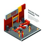 Race car at station. Isometric composition isolate on white vector illustration