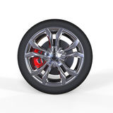 Race car tire with aluminium rims Royalty Free Stock Photos