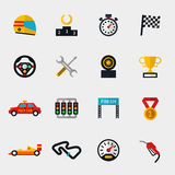 Race car track and racing flag modern flat icons. Set of race car, race track and racing flag modern flat icons. Stopwatch and speedometer,  helmet and cup, flag Royalty Free Stock Photo