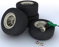 Race car tyres for pit stop Royalty Free Stock Photo
