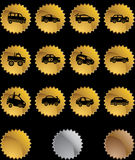 Race Car Web Button Set - Gold Seal Stock Photography