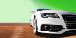 Race car in white. White sports car on a colorful background Royalty Free Stock Photo