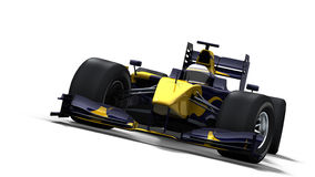 Race car on white - blue & yellow Stock Photo