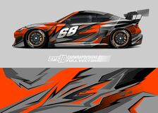 Race car wrap design. Abstract sport background