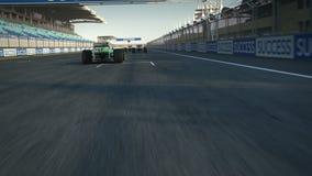 Race cars crossing finishing line