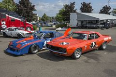 Race cars in display Stock Photo