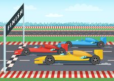 Race cars on finish line. Sport background illustration. Car speed winner, checkered finishing line vector Stock Photo