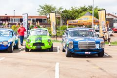 Cars line up before a race on zwartkops royalty free stock photo