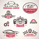 Race cars, racing emblem and label set