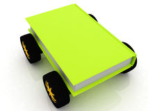On race cars in the world of knowledge. On white background Royalty Free Stock Image