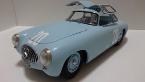 Mercedes Benz 300SL racing legend model car. Race chassis from the german car producer being displayed in a diecast collection Stock Photos