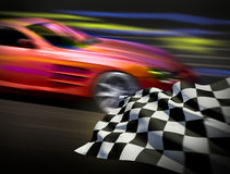 Race and chequered flag. 3d illustration for your project Royalty Free Stock Photography