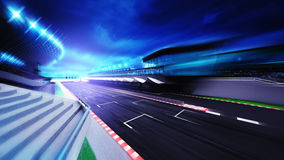Race circuit finish section in evening motion blur. Racing sport digital background illustration Royalty Free Stock Image