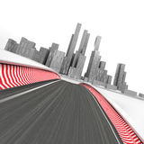 Race circuit leading to modern skyscraper city on white render Royalty Free Stock Images