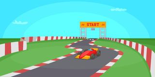 Race competition horizontal banner, cartoon style Royalty Free Stock Photography