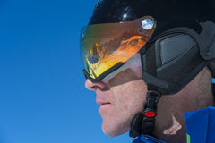 Race contentration - downhill skiing. Professional race face - mirror - concentration Royalty Free Stock Photos