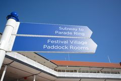 Race course sign. Chester race course sign on a blue sky background Stock Image