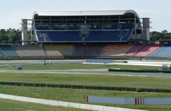 Race course and tribune at summer time Stock Photo
