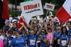 Race for a Cure for Italy. Visitors from Italy Take part in the Annual Race for cure to Breast Cancer Race in Washington DC Stock Images