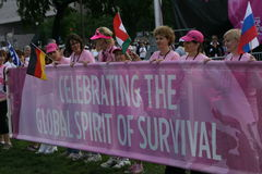 Race for the cure for the World. Visitors from all over the world gathers at the National Mall in Washington DC to draw awareness to Brest Cancer Stock Photos