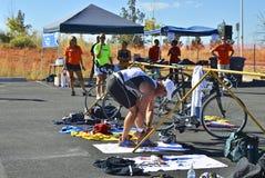 Race Day. Triathlon racer preps for the running segment Royalty Free Stock Photos