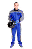 Race driver. Isolated in white royalty free stock photo