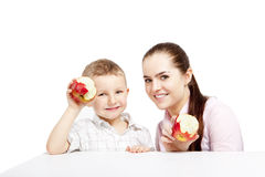Race in eating eco fruits. Royalty Free Stock Image