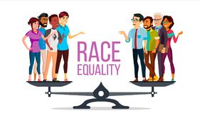 Race Equality Vector. Standing On Scales. Equal Opportunity. No Racism. Different Race Together. Tolerance. Isolated. Race Equality Vector. Standing On Scales vector illustration