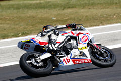 RACE European Junior Cup. Misano Adriatico, Italy - June 21: Honda CBR 650F of Raless Properties Team, driven by KHUMALO Themba in action during the European Royalty Free Stock Photos