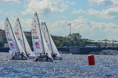 The race for the European sailing Champions League from 11 to 13 Stock Image