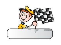 race för fullföljandeflaggaman Arkivfoton
