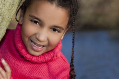 race för härlig flicka för afrikansk amerikan blandad Arkivbilder
