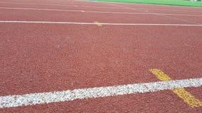 Race and feild in sport stadium. Lane for run Stock Photo