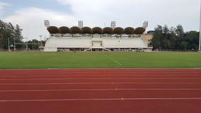 Race and feild in sport stadium. Lane for run Royalty Free Stock Photos